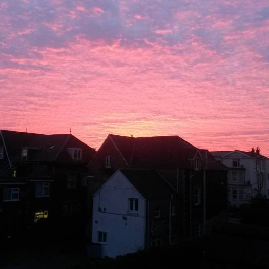 Photograph of the sunset taken from our kitchen window. It shows a cloudy sky coloured deep pink by the setting sun. The tops of houses are silouetted in black against the sky.