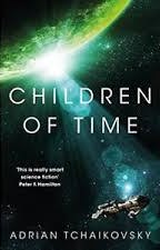 Image shows the cover of Children of Time. It features a spaceship approaching a green planet.