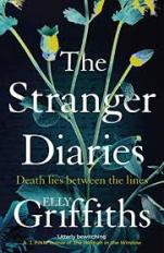 Image shows the cover of The Stranger Diaries. It features a painting of a flowering plant against a blue background with writing