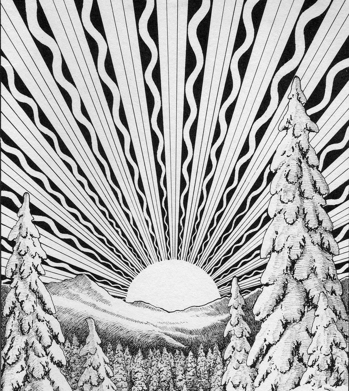Image shows a stylised black and white drawing of the sun rising over a snow capped mountain and forest