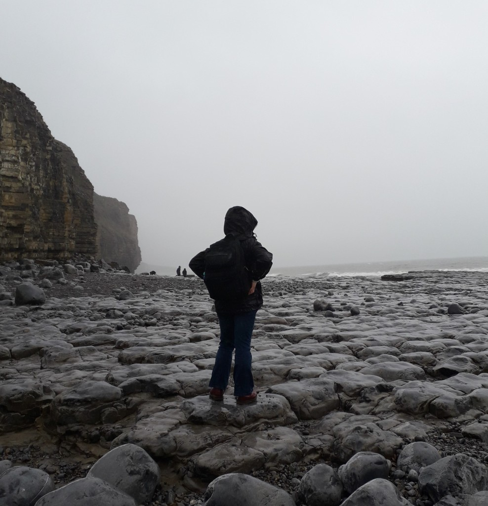 A woman in dark clothes wearing a backpack facing away from the camera and towards the sea. She is standing on a stony beach on a grey, wet day.