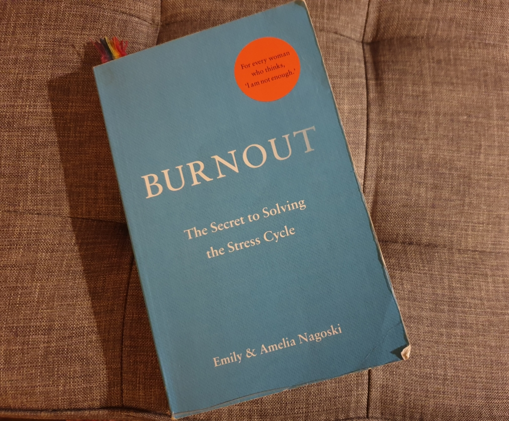 Photograph of the book 'Burnout'. It has a plain light blue cover with the title and author's names.