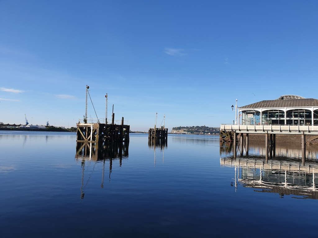 Cardiff Bay basin looking out twards Penarth on a bright sunny morning