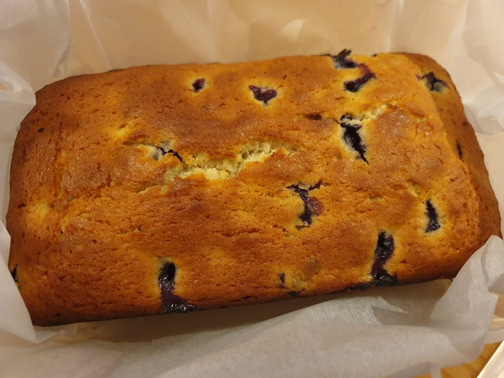 A rectangular cake which is nicely browned on top and studded with burst blueberries