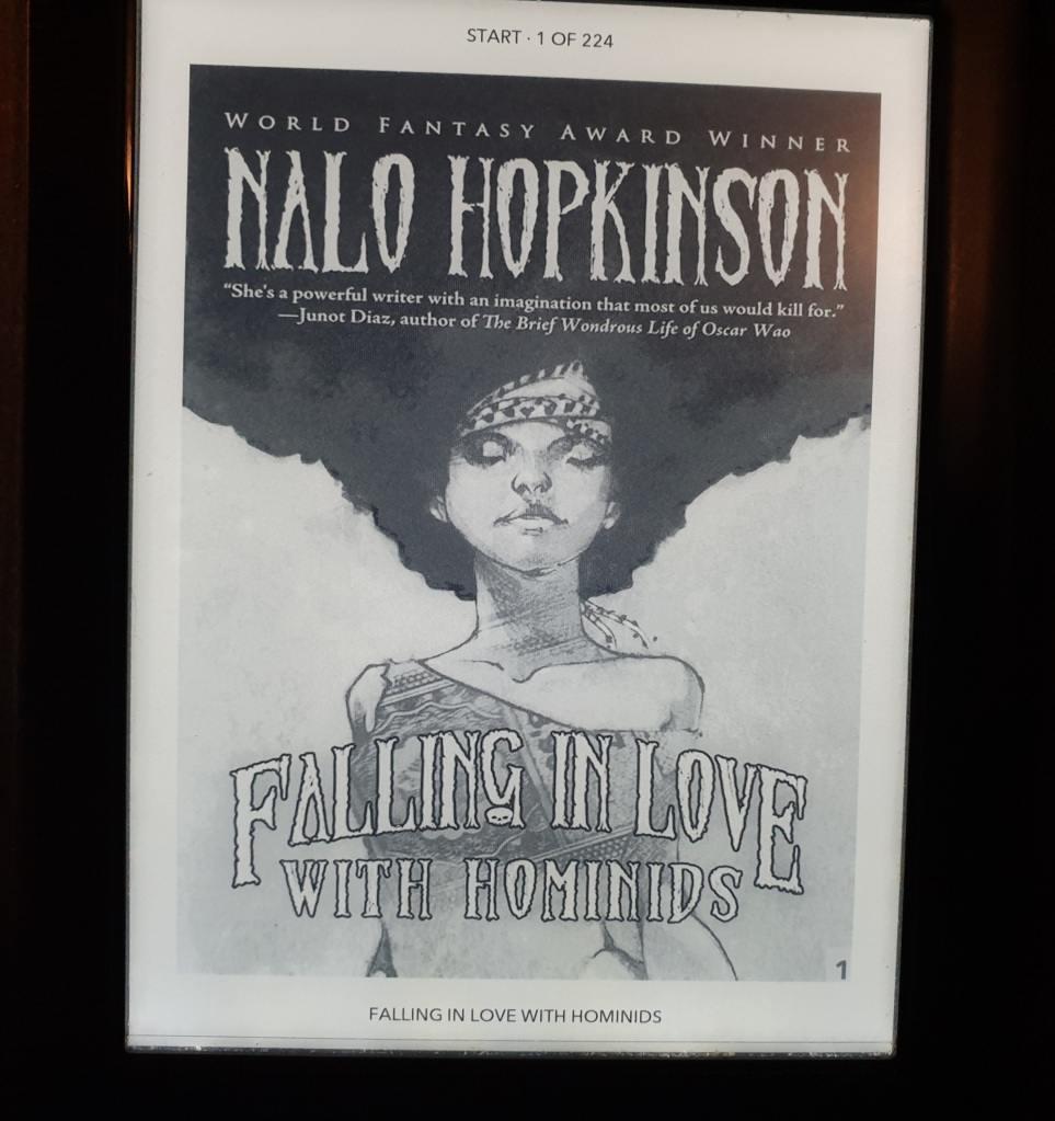 The cover of Nalo Hopkinson's collection, Falling in Love with Homonids. It shows a picture of a woman with thick black hair floating above her head.